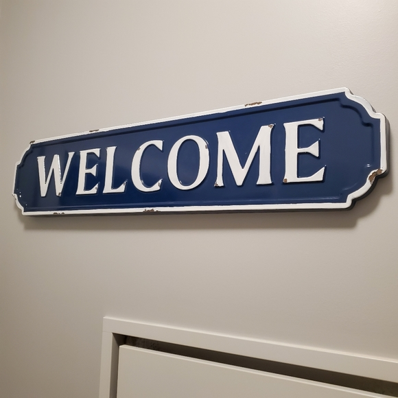 Welcome Sign Distressed Metal Blue White Wall Art